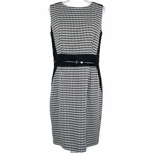 Calvin Klein Houndstooth Belted Sheath Dress